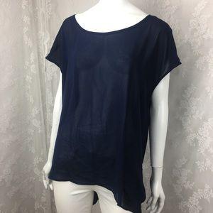 Forever 21 Navy Blue translucent blouse gathered